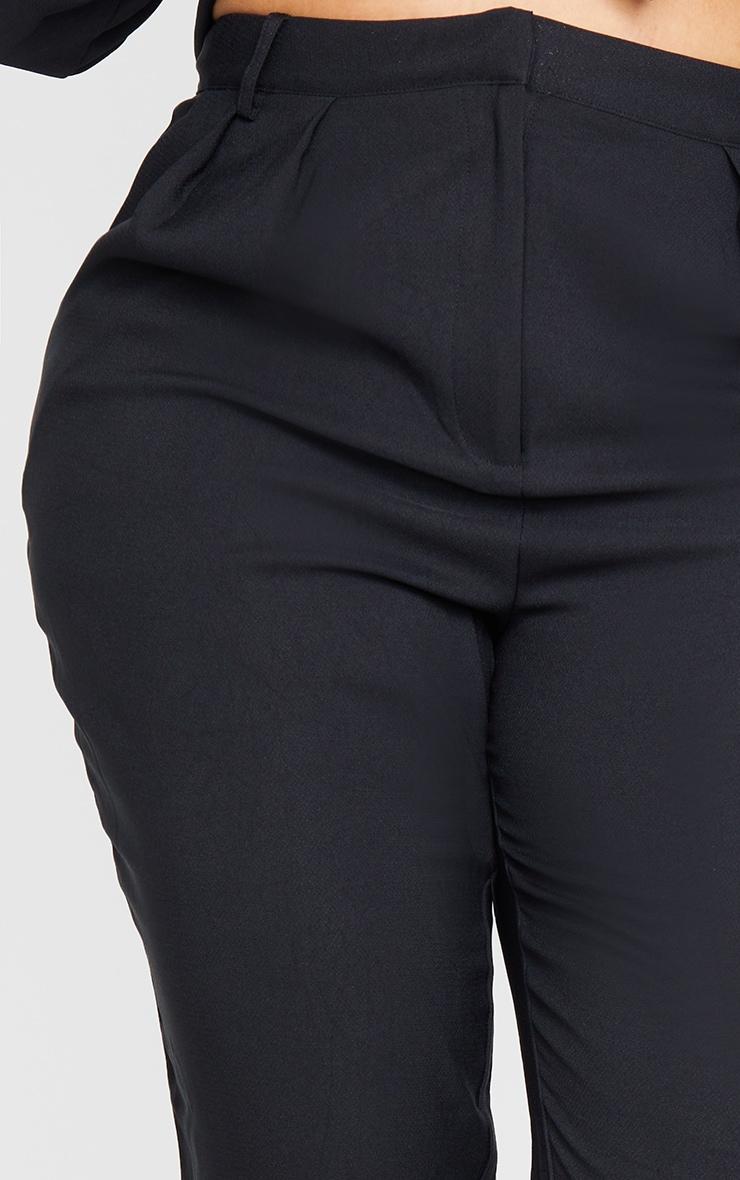 Plus Black Woven High Waist Straight Leg Pants 4