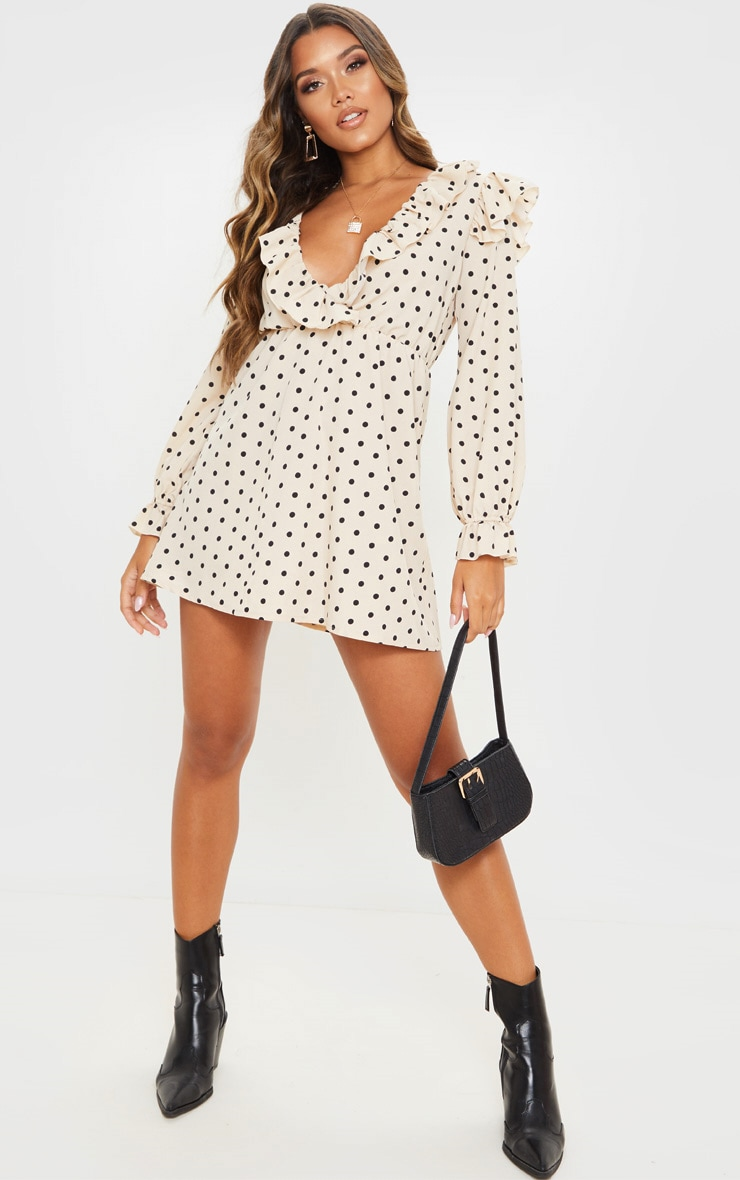 Cream Polka Dot Print Frill Detail V Neck Shift Dress 4