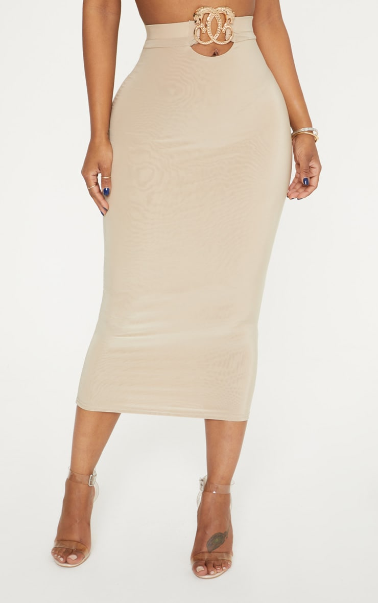 Shape Stone Slinky Belt Trim Midi Skirt 2