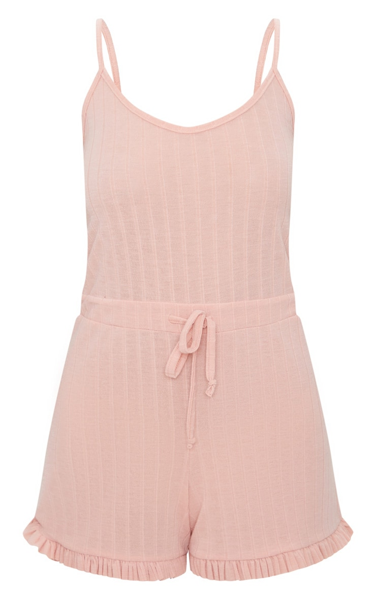 Pale Pink Strappy Thick Rib PJ Romper 3