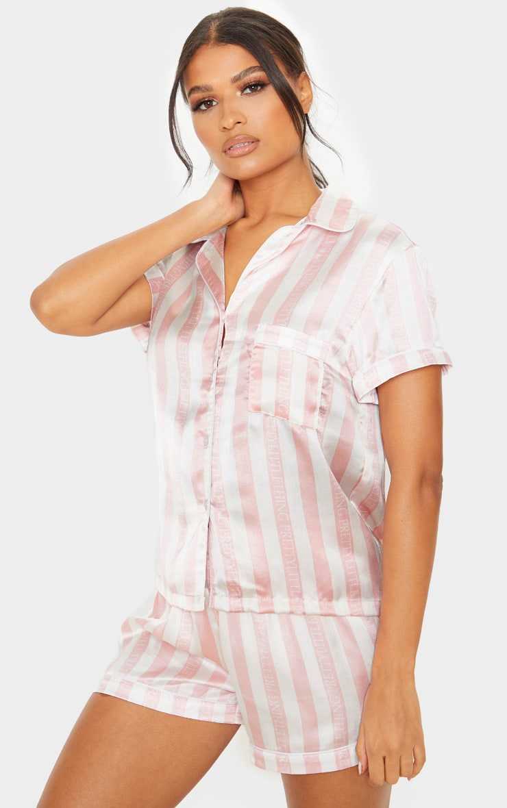 PRETTYLITTLETHING Baby Pink Striped Satin Pocket Pyjama Set 1
