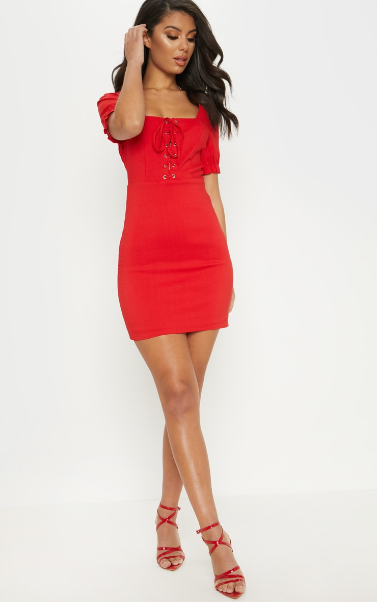 Red Lace Up Frill Detail Bodycon Dress 4