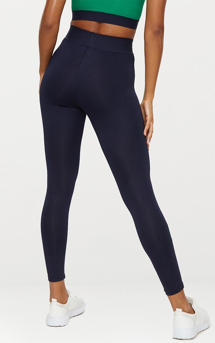 Navy Blue Contrast Gym Leggings 4