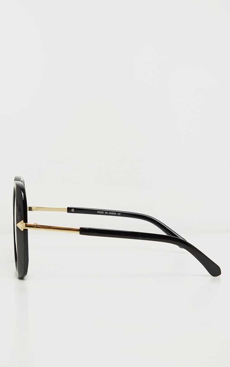 Black Oversized Angled Square Sunglasses 4
