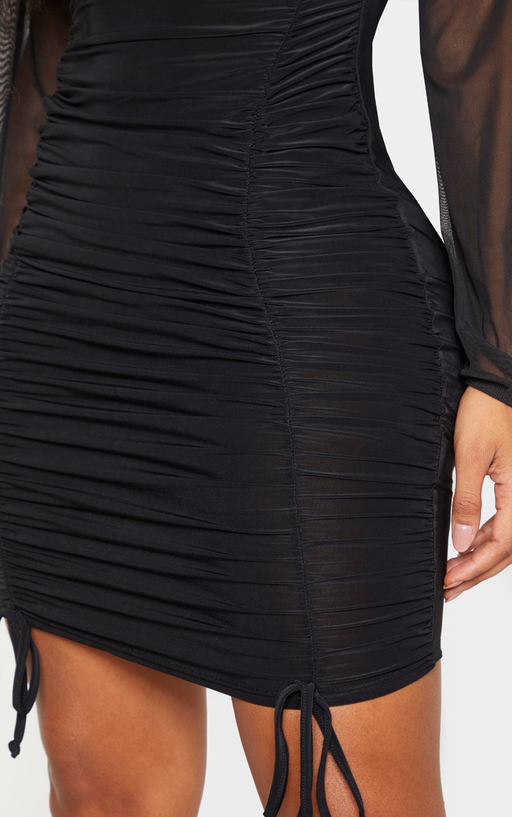 Shape - Robe moulante froncée slinky noire à manches en mesh 5