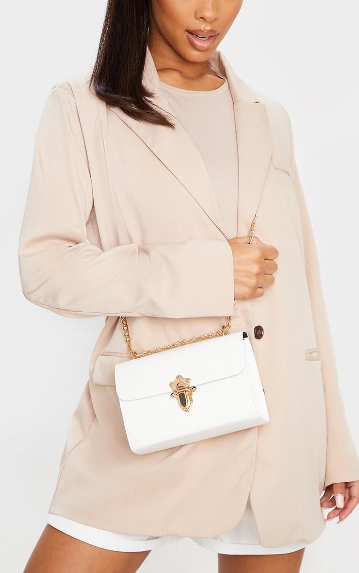 White PU Gold Buckle Detail Cross Body Bag 1