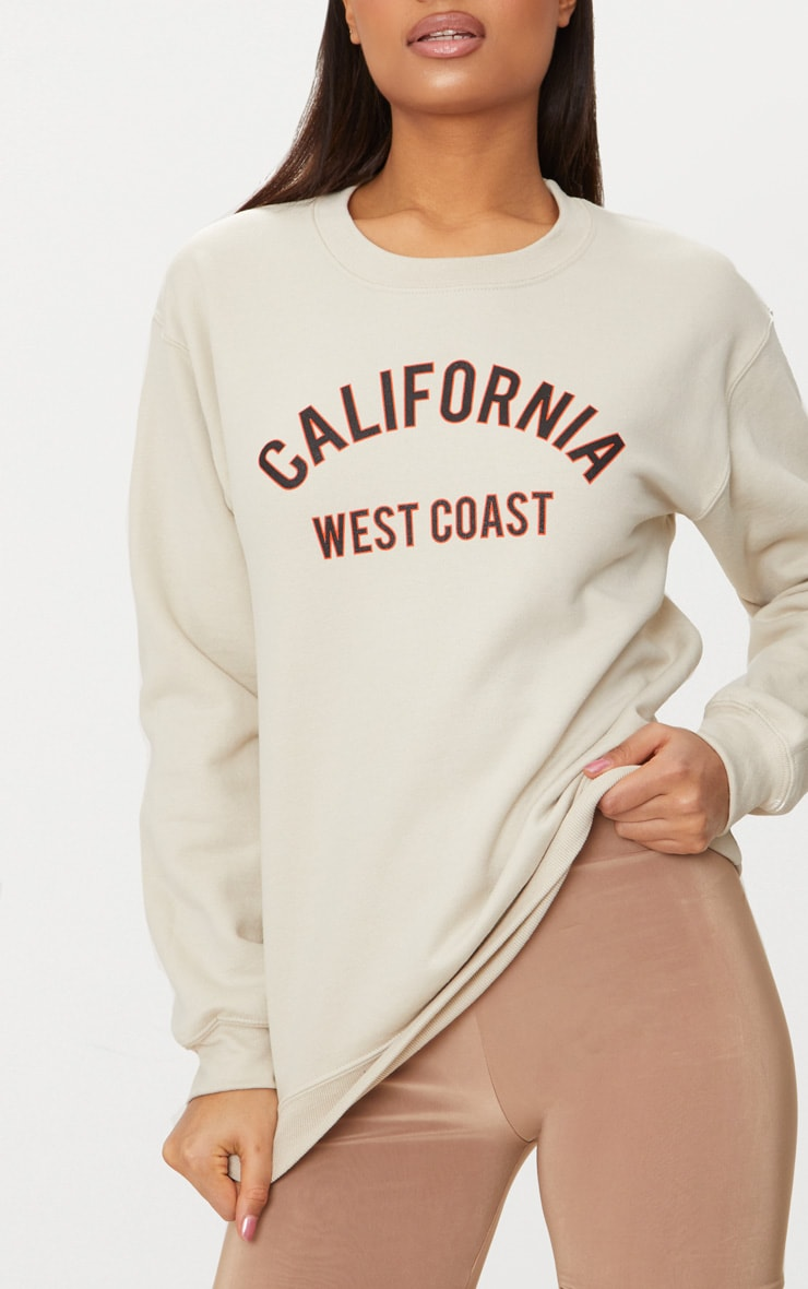 Sand California Slogan Oversized Sweater  5