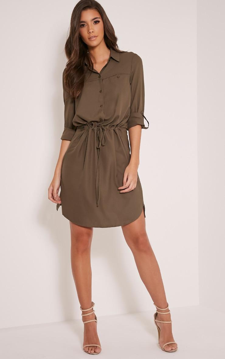 Madalie Khaki Tie Waist Shirt Dress 5