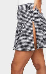 Black Dogtooth Pleated Side Split Tennis Skirt 5