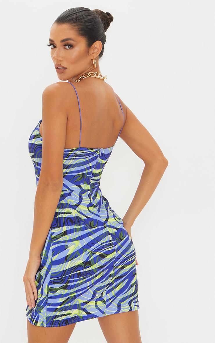 Blue Zebra Print Strappy Corset Detail Knotted Skirt Bodycon Dress 2