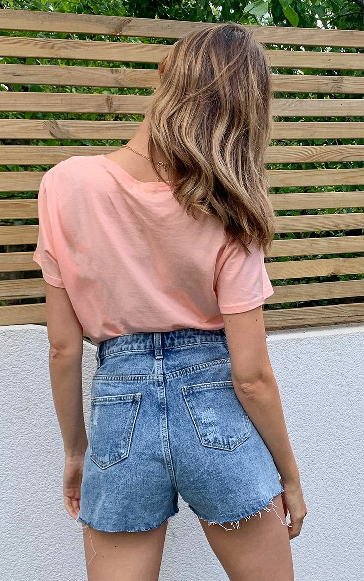 Peach Short Sleeve Fitted T Shirt 2