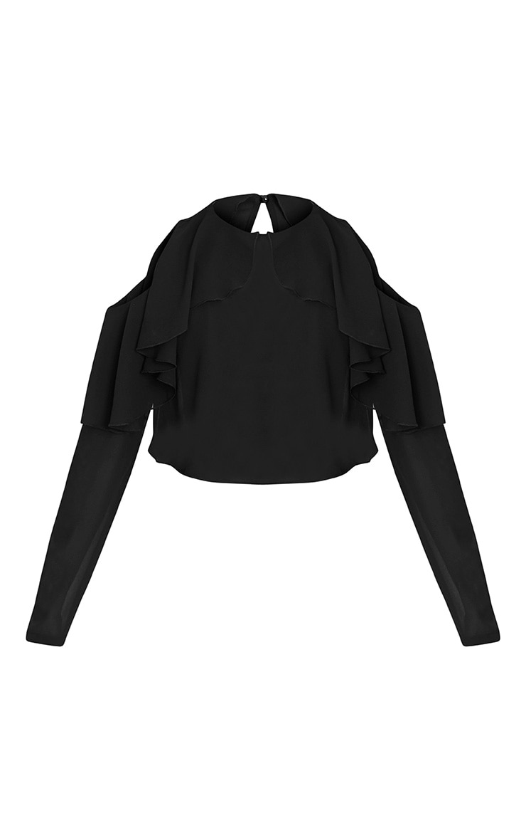 Audlia Black Ruffle Cold Shoulder Cropped Woven Blouse 3