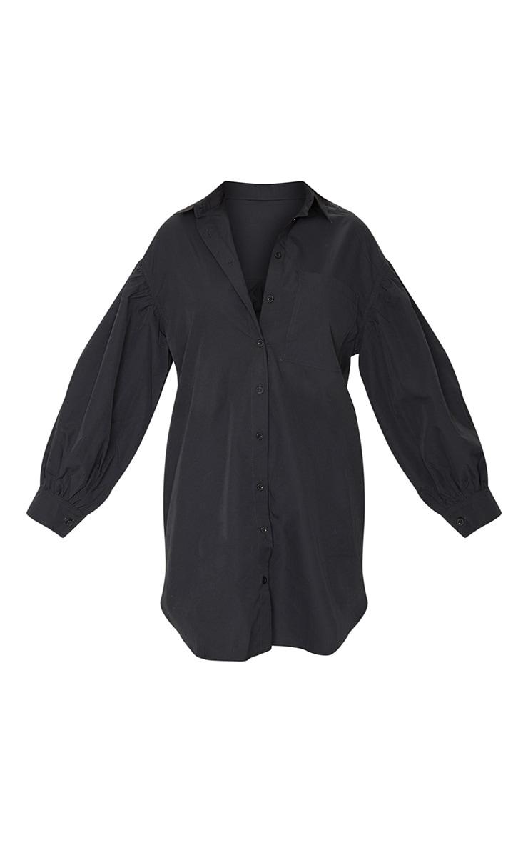 Black Pleated Puff Sleeve Shirt Dress 5