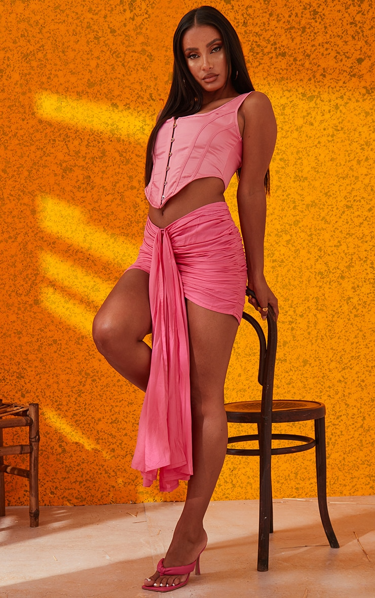 Candy Pink Satin Hook And Eye Curved Hem Corset 4