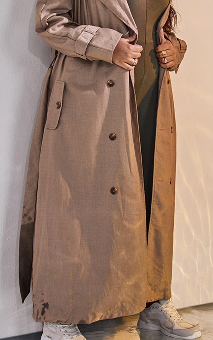Plus Stone Woven Oversized Trench Coat 4