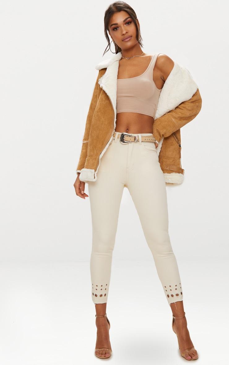 Ecru Eyelet Hem 5 Pocket Skinny Jean 1