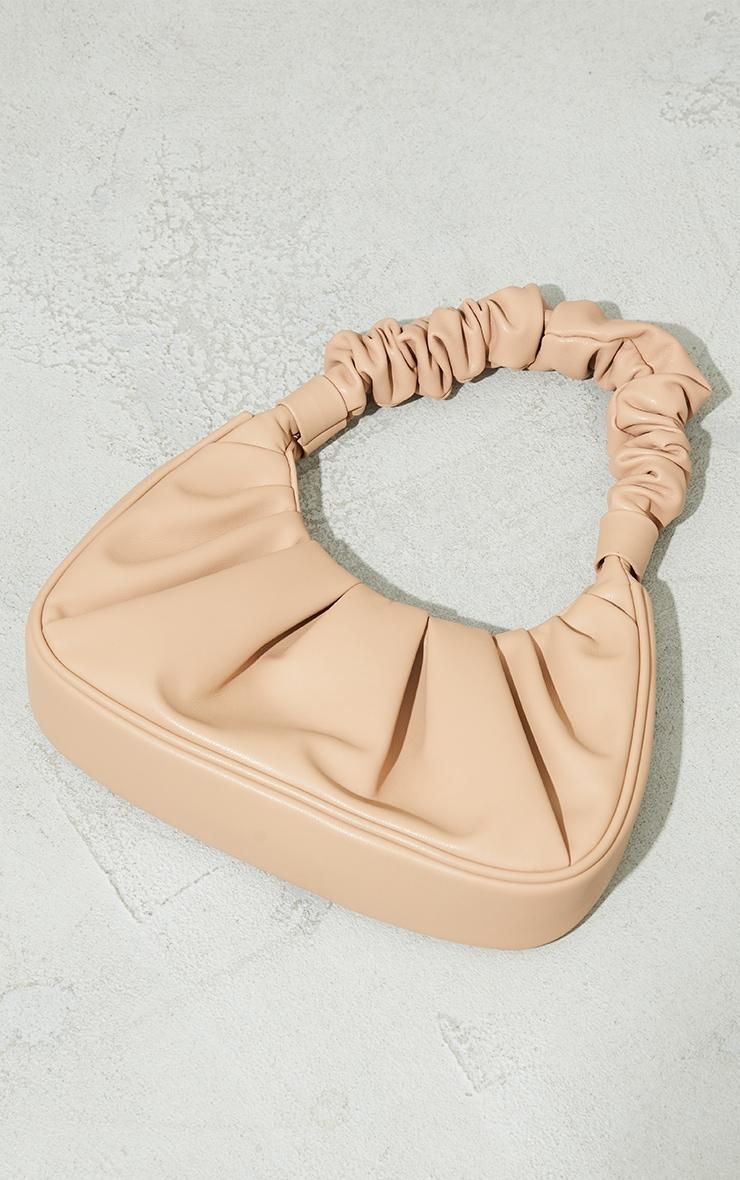 Tan Extreme Ruched Handle Shoulder Bag 2