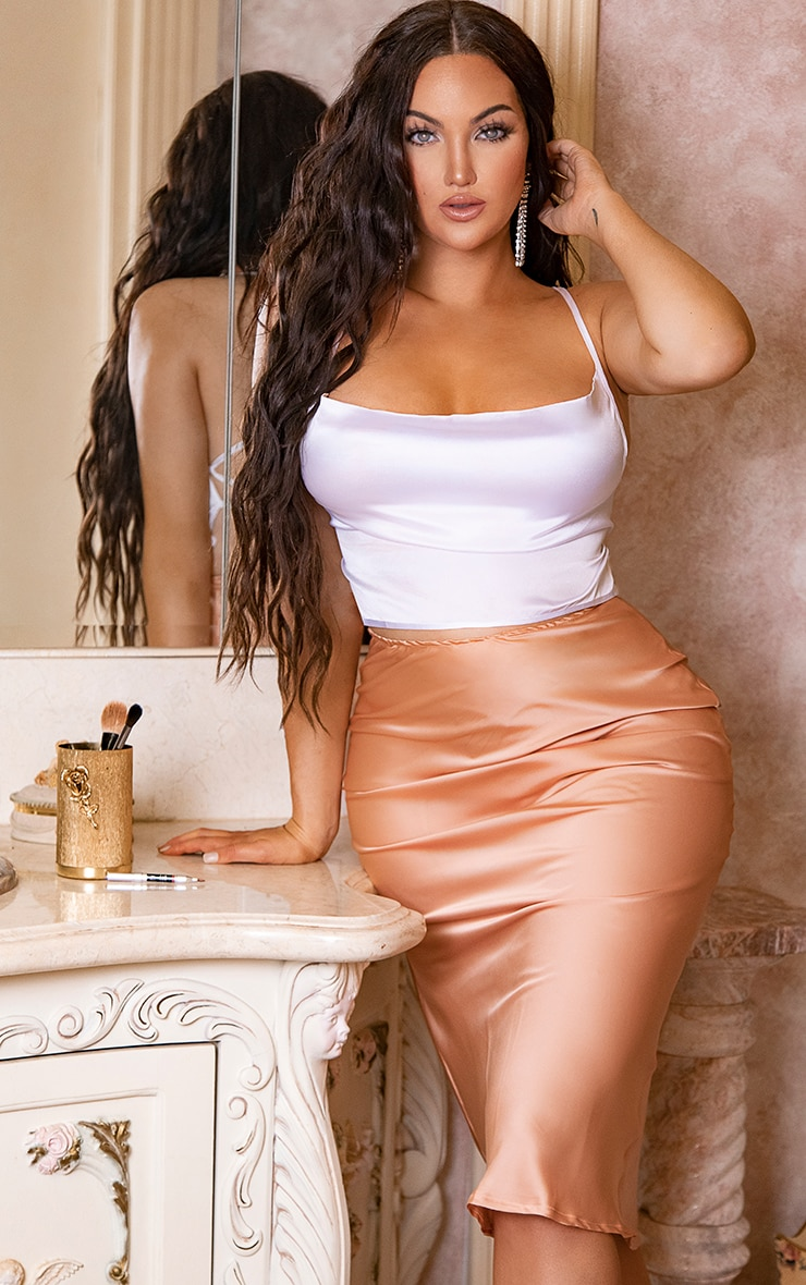 Peach Satin Midi Skirt  1