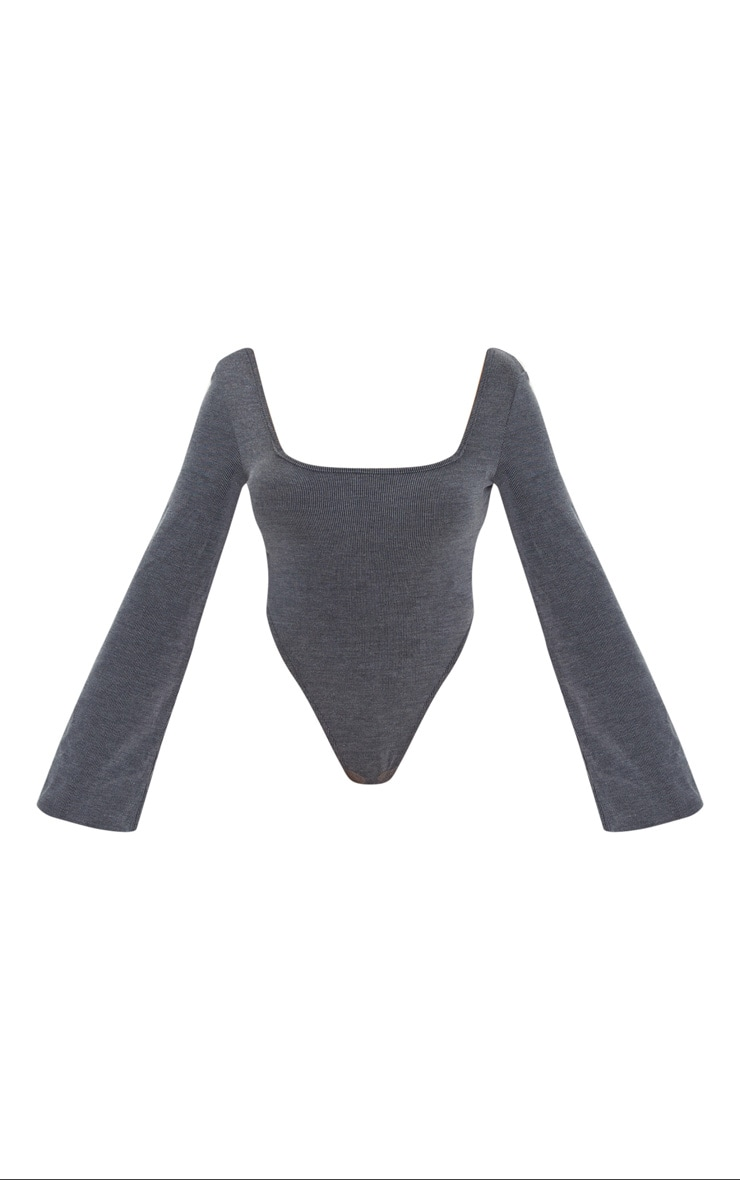 Black Washed Rib Square Neck High Leg Bodysuit 6