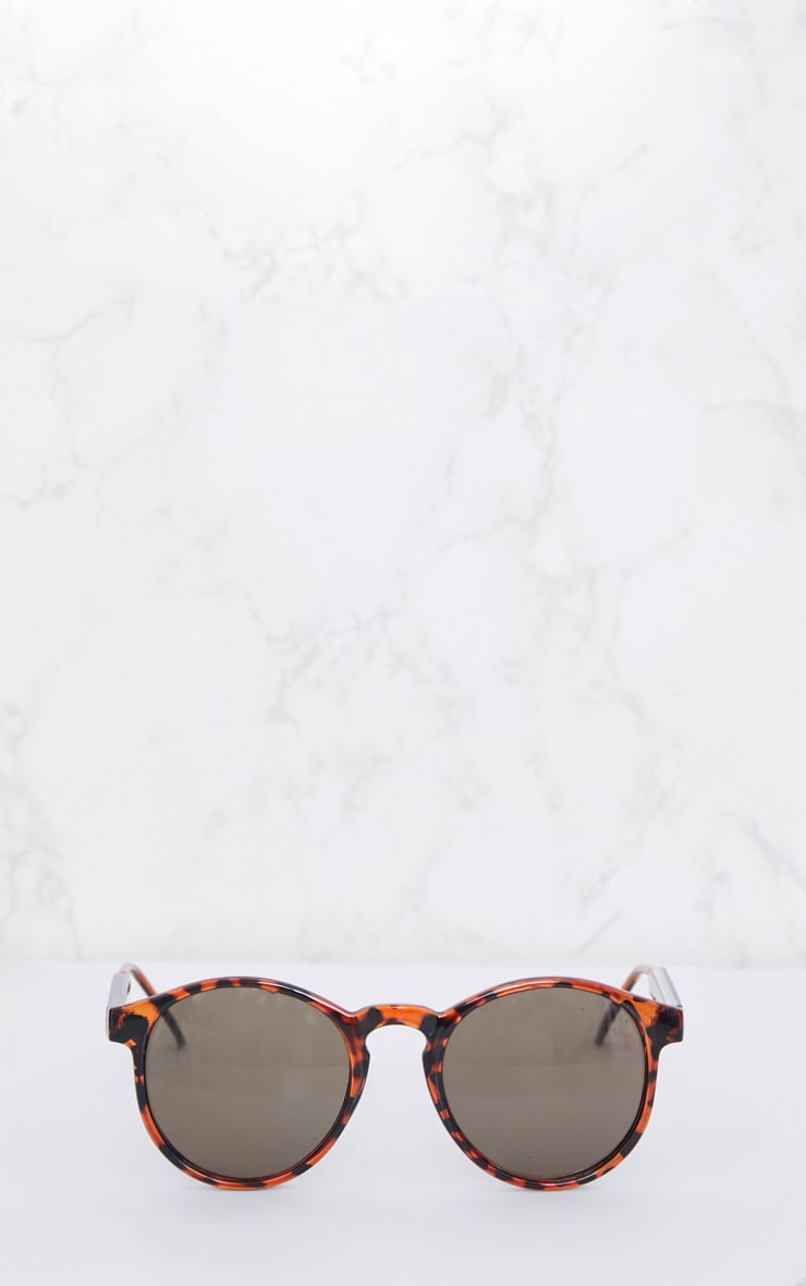 Brown Tortoiseshell Minimal Rounded Lense Sunglasses 2