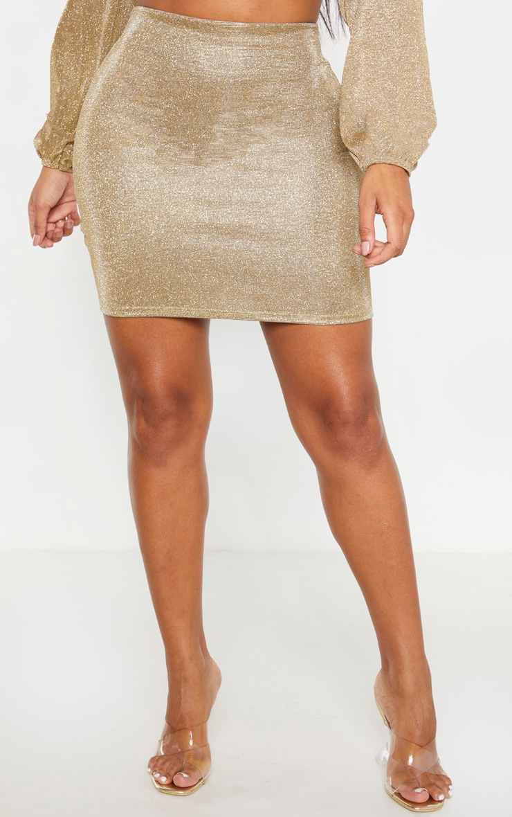 Shape Gold Glitter Bodycon Skirt 2
