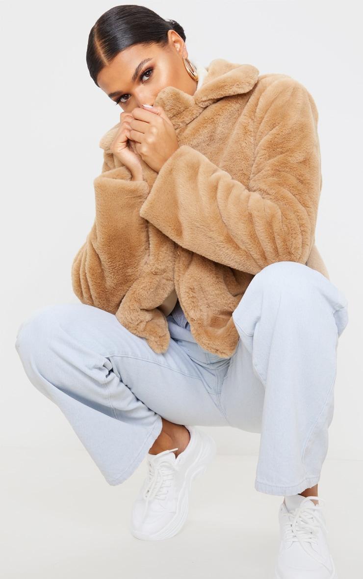 Beige Faux Fur Collar Coat 6