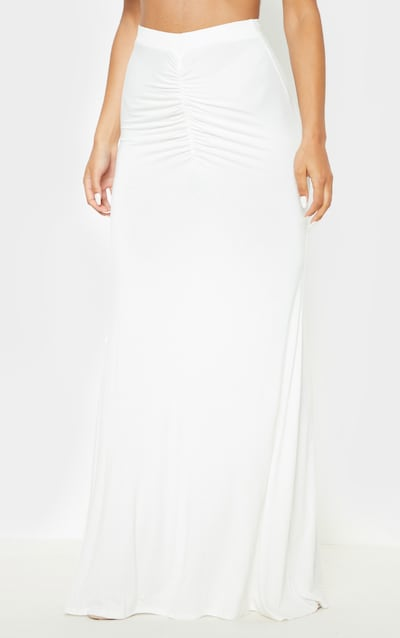 White Ruched Detail Maxi Skirt