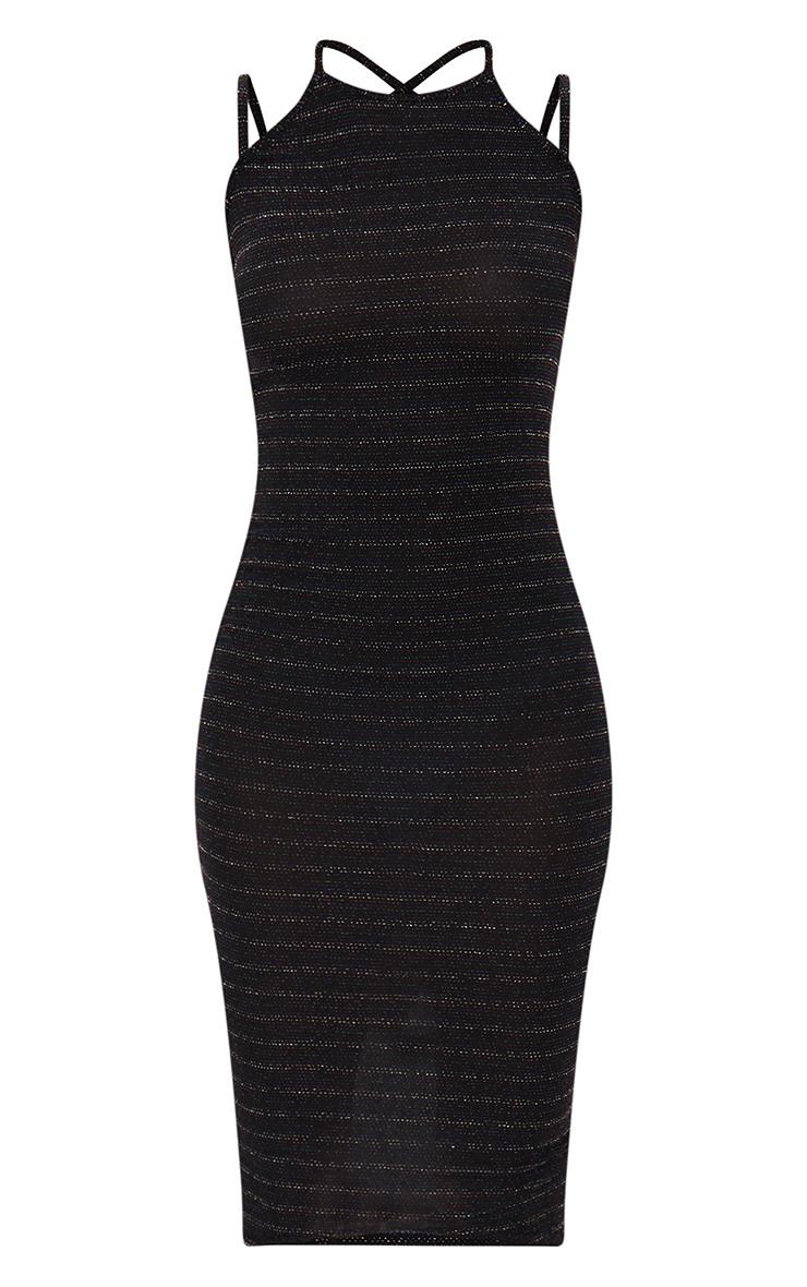 Petite Multi Stripe Lurex Cross Strap Bodycon Dress 3