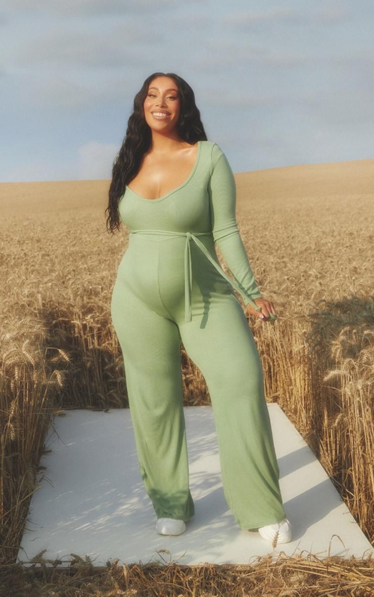 Maternity Sage Green Soft Rib  Tie Waist Jumpsuit 1