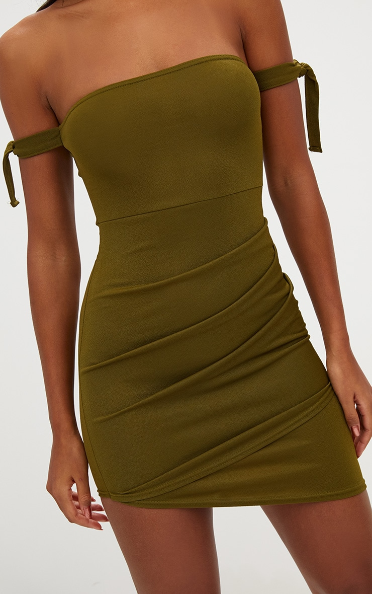 Olive Green Tie Sleeve Ruched Asymmetric Bandeau Bodycon Dress 5