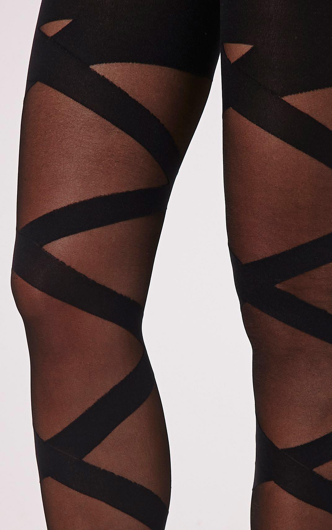 Dari Black Bandage Style Tights 3