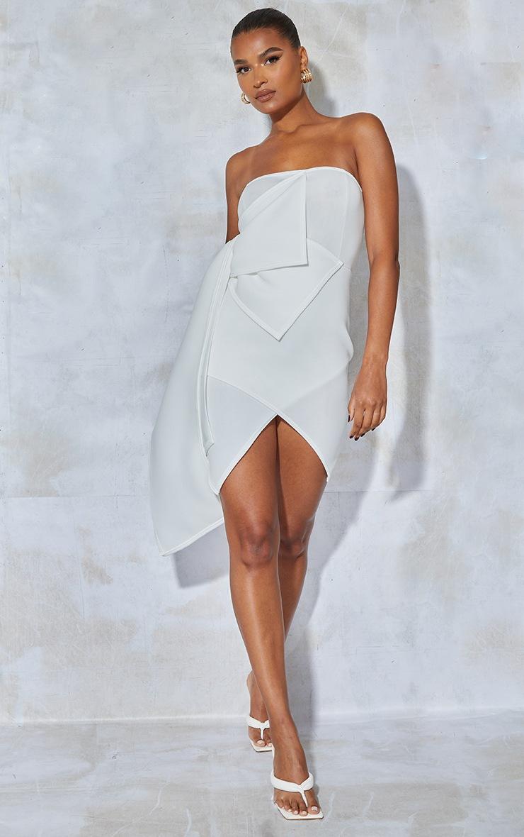 White Bonded Scuba Ruffle Wrap Bodycon Dress 3