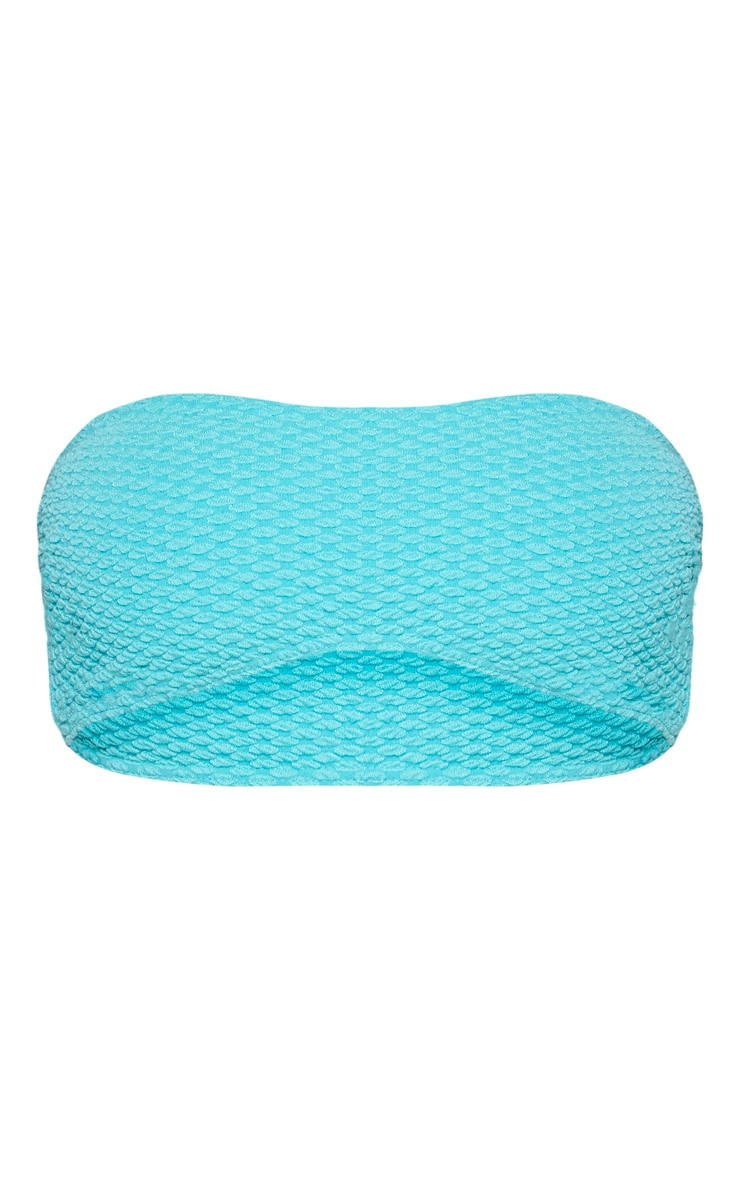 Top de bikini bandeau texturé turquoise passé 3