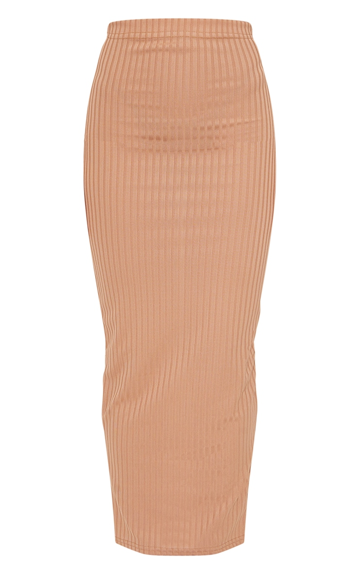 Camel Rib Bodycon Maxi Skirt 5
