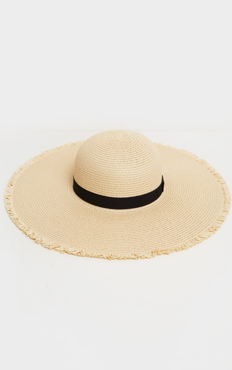 Natural Frayed Edge Wide Brimmed Boater Hat 2