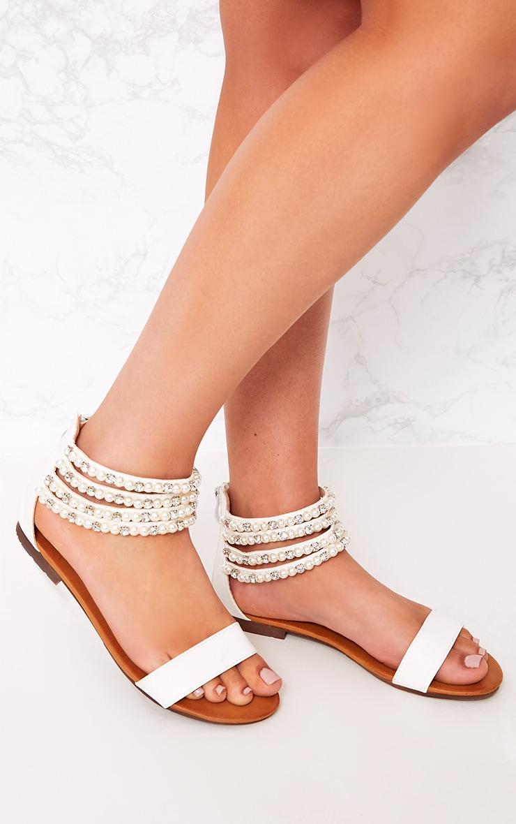 Paloma Cream Pearl Strap Sandals  3