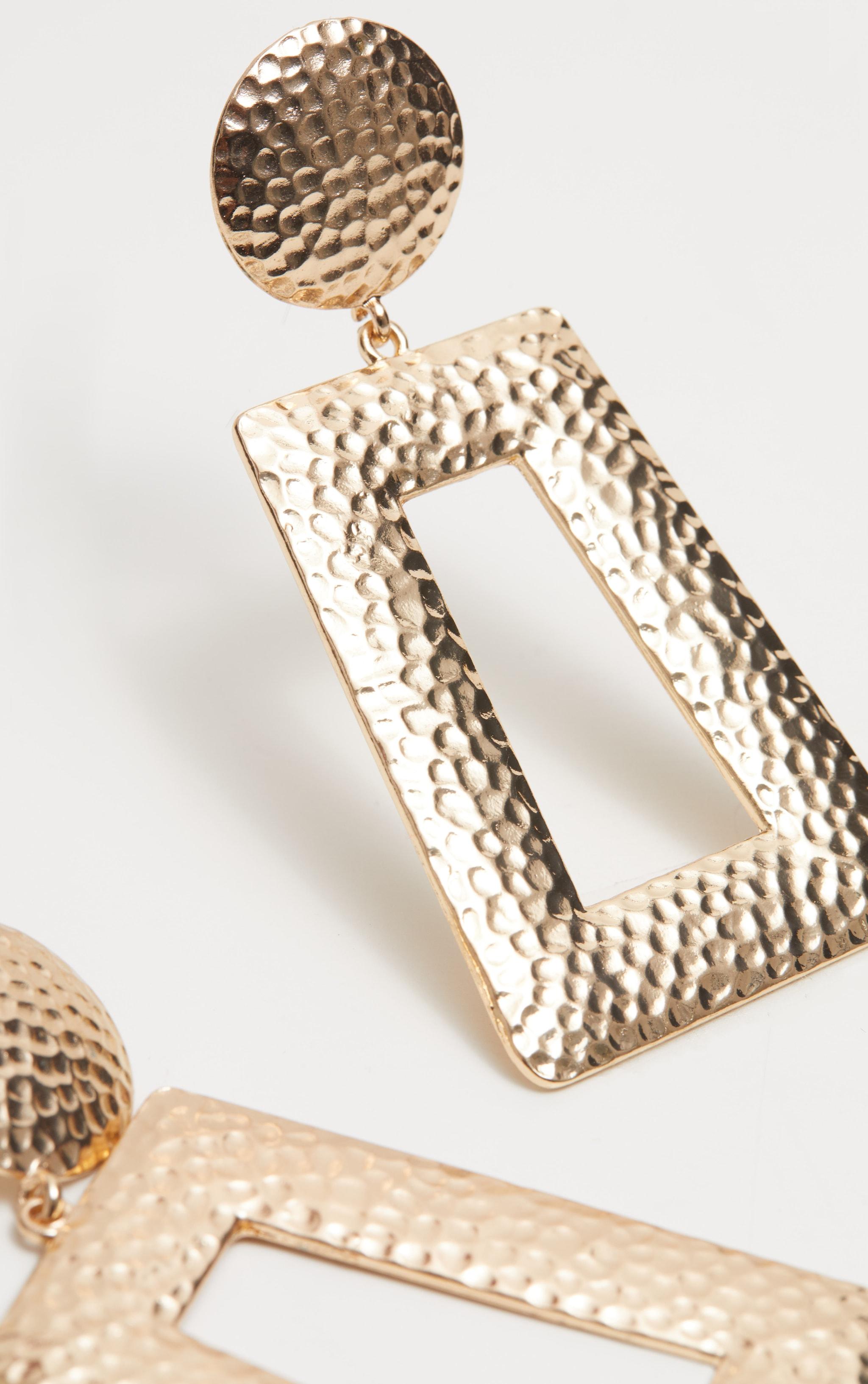Gold Hammered Oversized Earrings 3