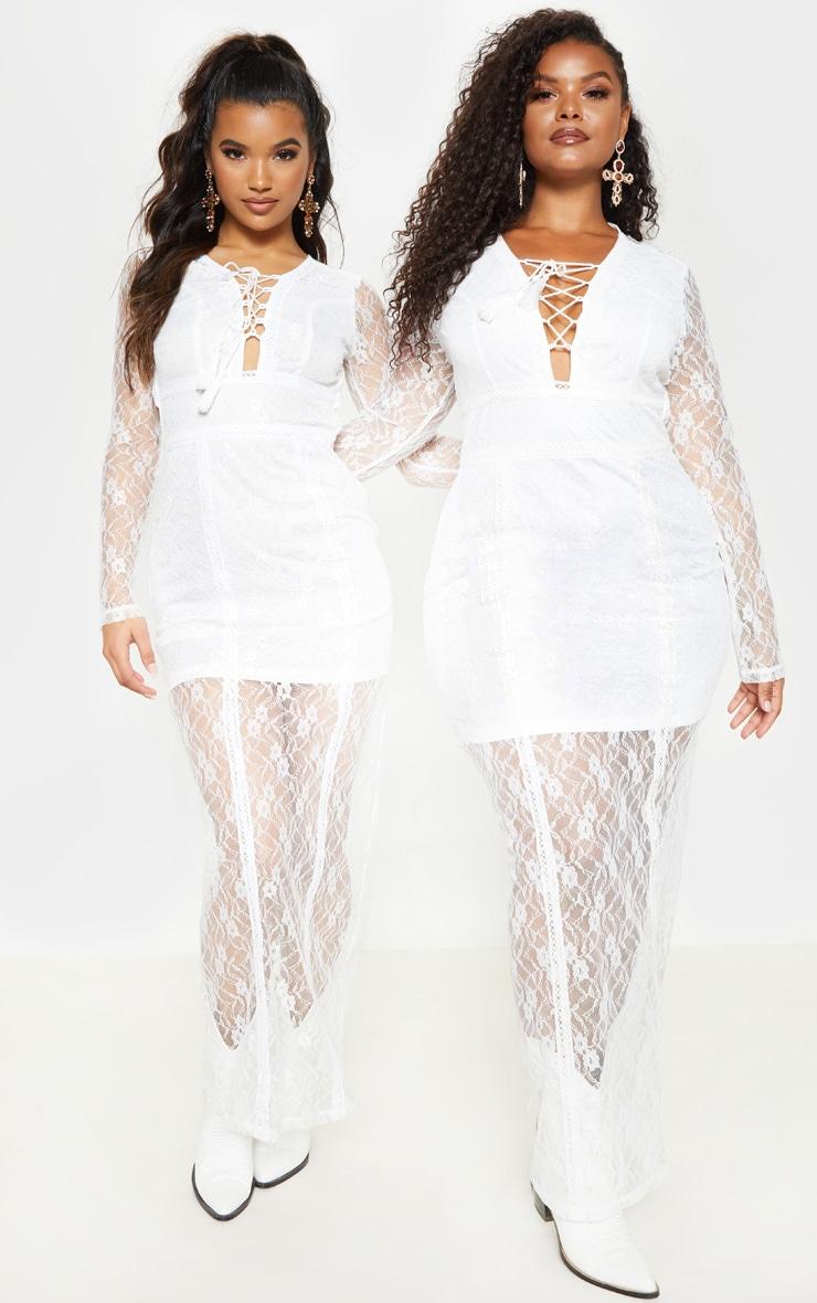 c84d833de3515 Plus White Lace Boho Lace Up Maxi Dress | PrettyLittleThing