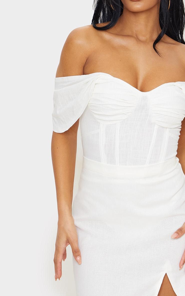 White Linen Look Bardot Draped Bust Corset Bodice Bodysuit 4