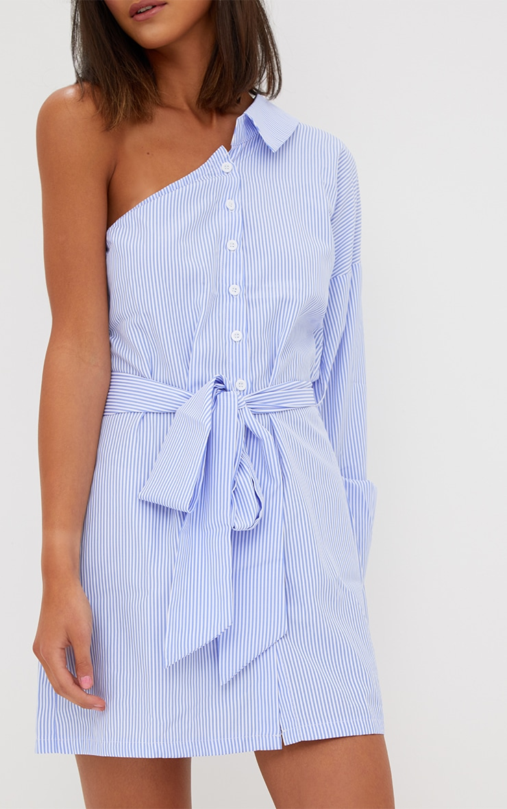 Blue Striped One Shoulder Shirt Dress 4