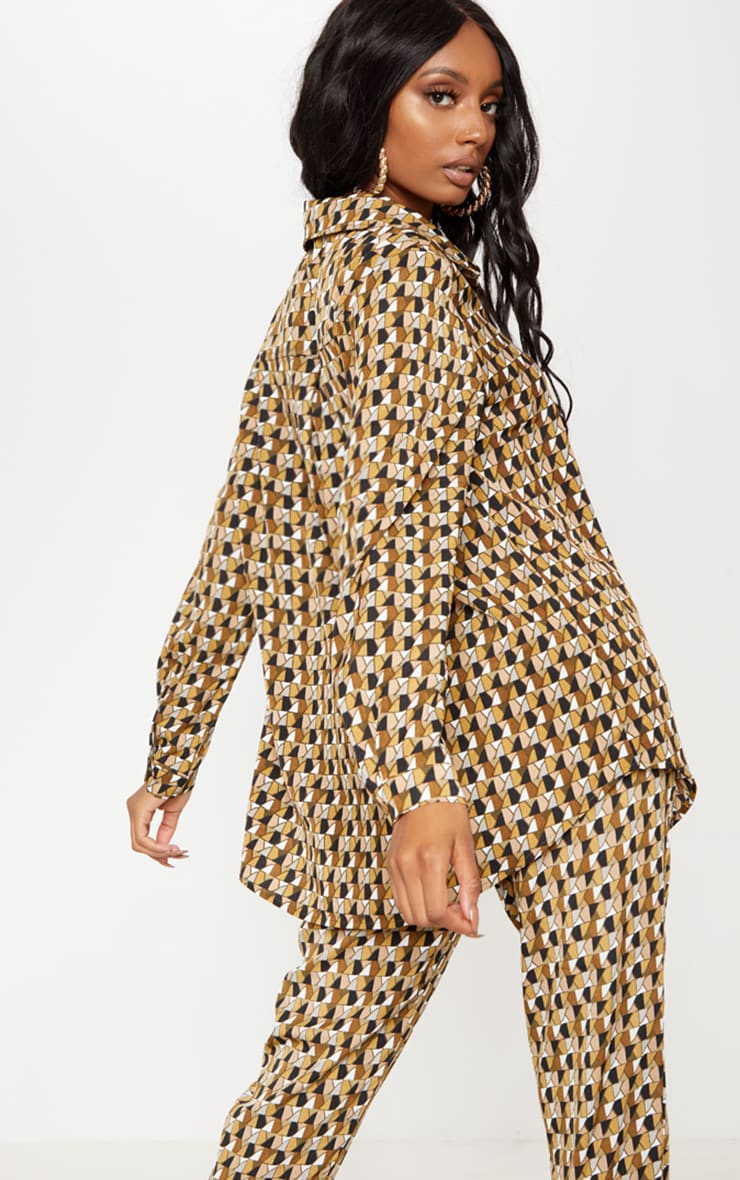 Multi Geo Print Oversized Shirt 2