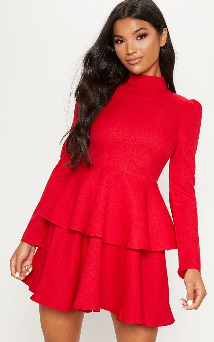 Red High Neck Tiered Skater Dress 1