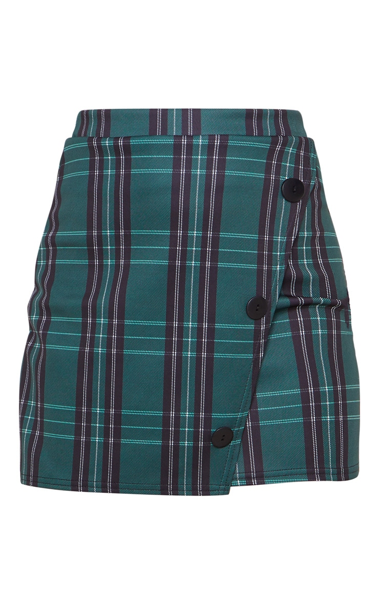 Green Checked Button Skirt 4