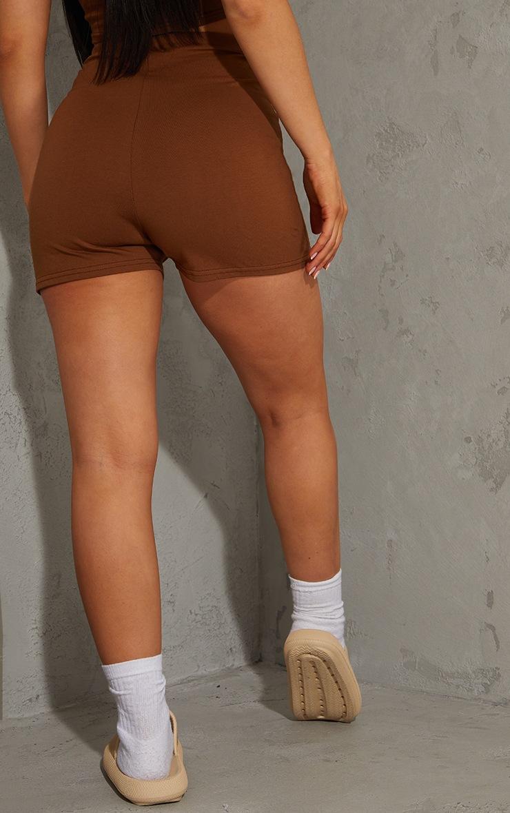Chocolate Brown Cotton Overlock Seam Hot Pants 3