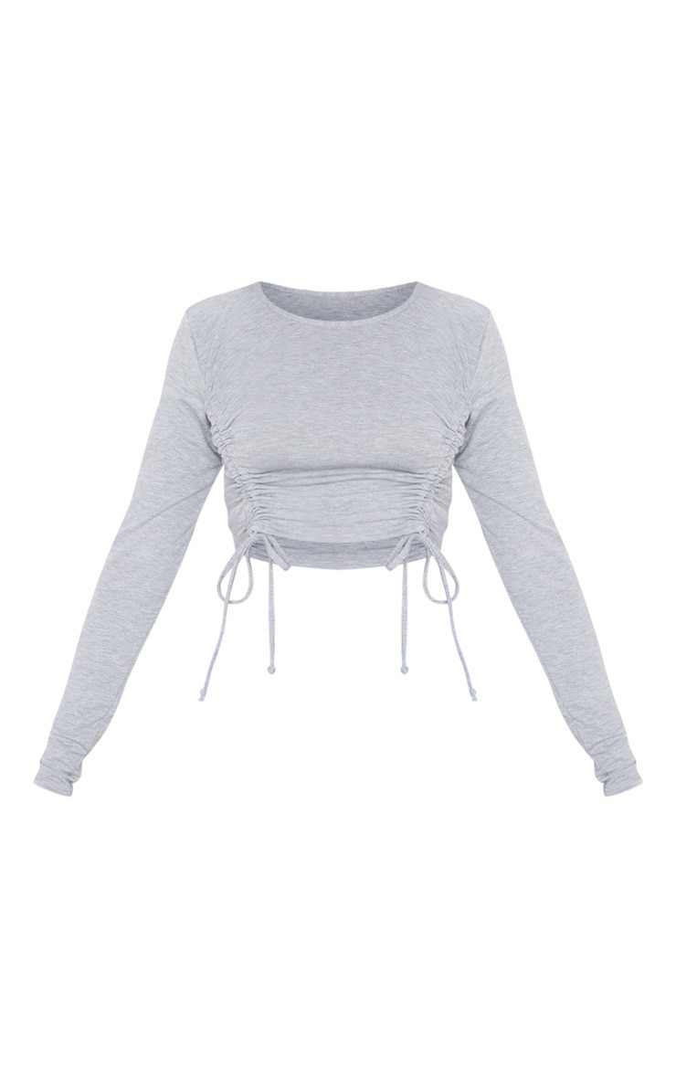 Grey Ruched Jersey Front Crop Top 3