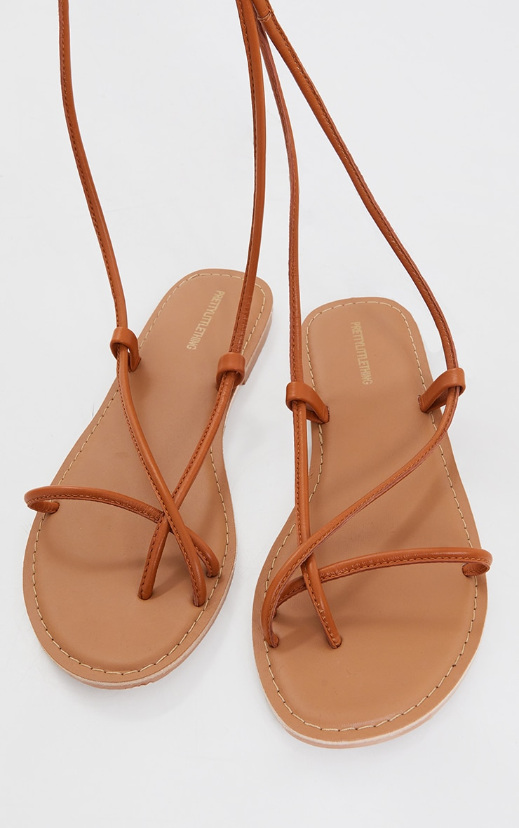 Tan WIDE FIT Real Leather Toe Loop Lace Up  Sandals 3