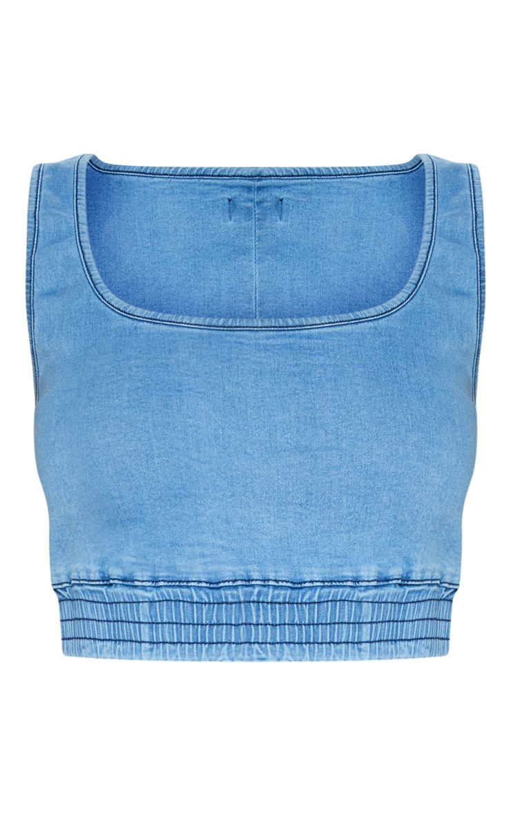 Light Wash Elasticated Waist Denim Crop Top 3