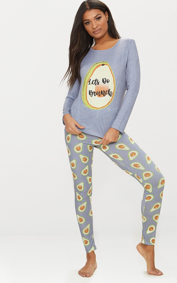 Grey Long Sleeve Avocado Print Legging PJ Set 1