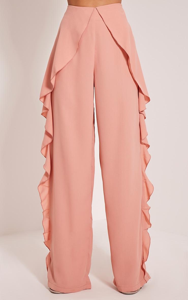 Matilda Blush Chiffon Frill Trousers 2
