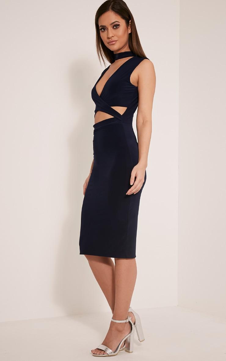 Nadeena Navy Neck Detail Cut Out Sleeveless Midi Dress 4